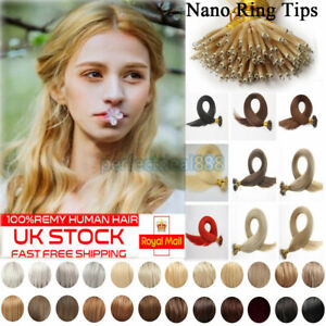 7A Nano Rings Tip Micro Beads Double Drawn Russian Remy Human Hair Extensions 1G