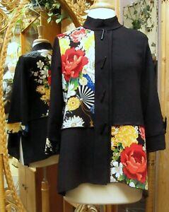Moonlight 3/4 Sleeve Crepe Jacket Oriental Garden Button Up US Made Machine wash