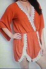Ladies Plus Size Rust Orange Long Sleeve Romper 1X