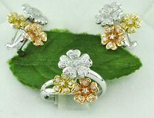 14k 3tone White Rose Yellow Gold Natural Diamond Earring Ring Pendant Set 0.65ct