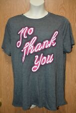 Womens Gray No Thank You Doe Short Sleeve Shirt Size 1X NWT NEW