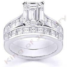 4.02 Ct. Emerald Cut Diamond Bridal Set