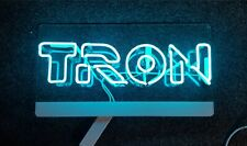 Real Glass Tron / Tron Legacy Cyan Light Blue Neon Bar Arcade Sign Decor