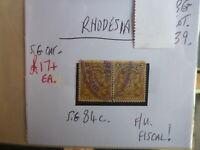 RHODESIA STAMP S.G. 84c F.U. FISCAL
