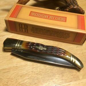 "Rough Rider Jigged Honey Bone French Tickler Lockback 4 1/8"" Pocket Knife RR204"