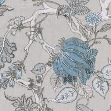 Textiles français Oriental Tree of Life 100% Linen Designer fabric (Soft Grey)