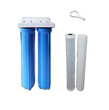 "PRO Whole House Water Filter System Twin 20"" X 2.5"" Big Blue Carbon"