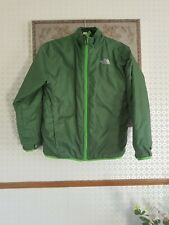 """North Face Green Quilted  Girls Coat Age 10/12 pit-pit 17"""" length 22""""zip up left"""