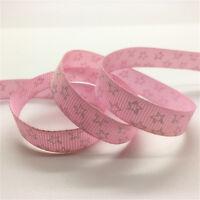 "New 5 Yards 3/8""(10mm) Wide Printed Grosgrain Ribbon Hair Bow DIY Sewing U Pick"