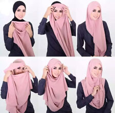 Muslim Instant Two Loop Chiffon Shawls Two Face Hijab Malaysia Scarves Scarf