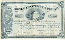 1889 Carolina Construction Company Stock Certificate Charleston S.C South