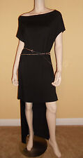 NWT GUESS Maxi Knit Dress Hi-Low Hem Belted Off Shoulder Kimono Sleeve Black M