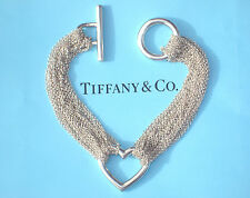 Tiffany & Co Argento Sterling TEN-riga braccialetto catena cuore
