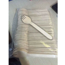 100x Disposable Wood Spork Cutlery Wooden Tableware Travel Party Supplies