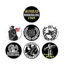 BUTTON SKINHEAD Set 7 Stk NEU 2,5cm Oi! Skinhead Oi Punk Working Class Punkrock