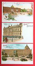 3 x Litho AK BERLIN um 1900 Schloss und Zeuhgaus mit Schlosswache ( 13380