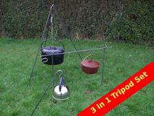 3 In 1 Camp Fire Camping Cooking Tripod Dutch Oven Bush Craft Reenactment Camp