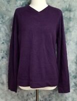 b3d9dc14aa436a Ted Baker Womens sz 3 M Purple Cashmere Long Sleeve V Neck Pullover Sweater