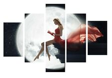 """Sexy Women - Moon Red Dress Night 5 Split Panel Framed Canvas Pictures 28x40"""""""