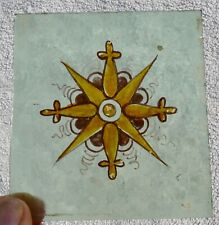 """Victorian painted glass panels, 6 pieces, approx 3.5"""" x 3.75"""""""