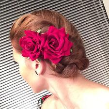 2 X Rockabilly 50s Pin Up De Terciopelo Rojo Clip Fascinator de la Flor Rosa Cabello