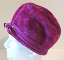 Vintage 60's Patrice Mod Purple Faux Fur Bubble Hat Made In Italy Size 22 1/2