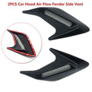 2PCS Carbon Fiber Car Hood Air Flow Fender Side Vent Decoration Sticker Plastic