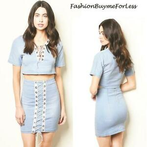 BOHO Hippie Lace Up Washed Denim MOTO Cropped Top & Mini Dress 2PC SET S M L NEW