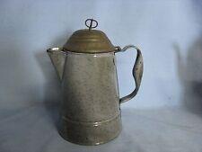 Gray Graniteware Coffee Pot Rare Crown Cover Tin Lid  Antique Agateware