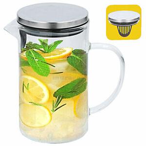 Glaskaraffe mit Deckel ca.1L Saft Wasser Karaffe Edelstahl Krug Kanne Einsatz