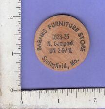 8707 Barnes Furniture Store N Campbell c 1985 buffalo wooden nickel Springfield