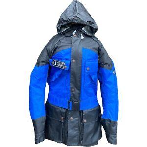 BELSTAFF Eagle Drizabone Blue Motorcyle Jacket XS Belt Hoodie Nylon Quilted FLAW
