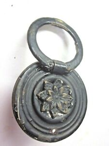 """Shabby 1900s Black Steel Floral Ring Drop Pull Handle 2"""" Round Flower Antique"""