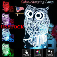 3D Night Light Owl LED Table Lamp Touch Control Animal 7 Color Change Xmas Gift