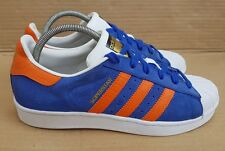 ADIDAS SUPERSTAR EAST RIVER RIVALRY BLUE SUEDE AND ORANGE TRAINERS IN SIZE 6 UK
