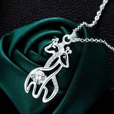 Women Jewelry Animals Pendant Zircon Necklace Couple Giraffe Charm