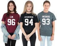 Monsta X Members T-shirt Top Tee Fashion Kpop I.M 96 Wonho 93 Hyungwon 94 Kihyun