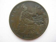 1886 Halfpenny, Crowned V.R. countermark on reverse.