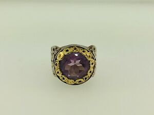 Adi Paz ZRW Israel 14K Yellow Gold Sterling Silver 925 Amethyst Cocktail Ring