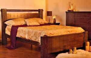 LAVISH SWEET DREAMS MOZART CHUNKY DARK WOODEN BED FRAME IN DOUBLE & KING SIZE