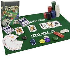 More details for poker blackjack texas hold em complete casino game set cards chips mat