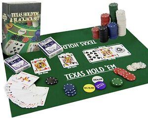 Poker Blackjack Texas Hold em Complete Casino Game Set Cards Chips Mat