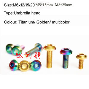 M5 M6 M8 Pure Titanium Alloy Screw Umbrella Head Ti Motorcycle Shell Bolts 10Pcs