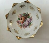 Vintage Trimont Ware Japan Octagonal Bowl Lustre Peach Grapes Gold Home Decor
