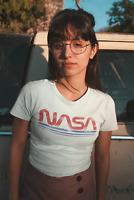 NASA Vintage Worm Logo Womens T Shirt Space Astronaut Retro Classic Tee White