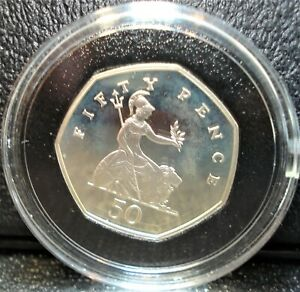 1997 Silver Proof 50 Pence Coin from Great Britain - - Silver, Not Copper-Nickel