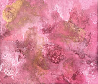 Modern Signed ORIGINAL Abstract Acrylic Painting Matted Pink Copper White Art #4