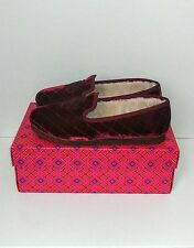 Tory Burch Quilted Velvet Logo Faux Shearling Slippers Flats Shoes Size 8