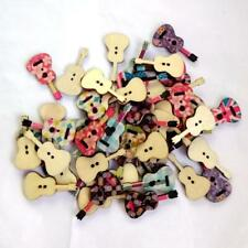 50pc Mixed Violin Pattern Wooden Sewing Button Scrapbooking DIY Craft 2 Holes HD
