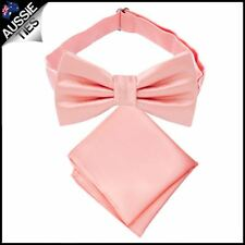Coral Salmon Bow Tie and Pocket Square Set